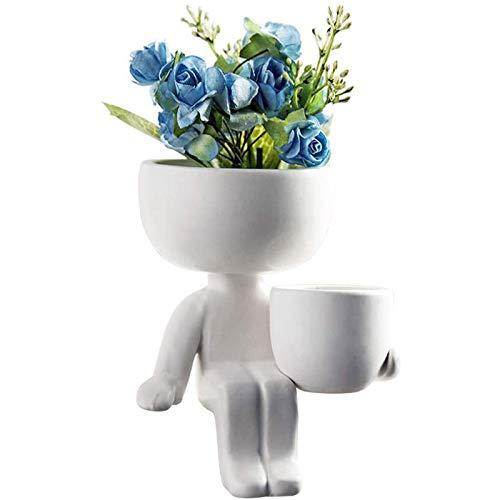 Warme Ceramic Flowerpot Humanoid Creative Crafts Decoration Succulent Figure Planter Plant Pot Figures Nordic Small Vase Home Ornaments Garden Display Tabletop Centerpiece 8.13*2.36*3.94inch (White B)
