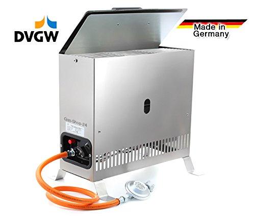 2 kW Edelstahl Gewächshausheizung / Frostwächter mit Gasschlauch , Druckminderer (Gasheizung, Heizung, Standheizung, Gewächshaus, Gartenhaus, Campingheizung)