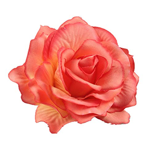FEILEC Pasador de pelo para mujer, diseño de flor falsa, 11 cm (naranja)