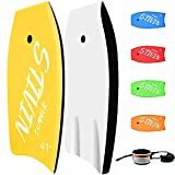 STIVIN Bodyboards 33in/37in/41in Lightweight Body Boards with Coiled Leash Comfort Velcro EPS Core XPE Deck HDPE Slick Bottom Boogie Boards for Beach River Sea Pool Surfing for Kids Adults