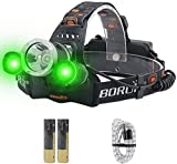 BORUiT RJ-3000 LED Headlamp with Green Light -...