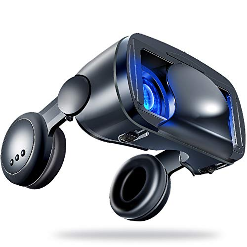 LAHappy 3D VR Brille Virtual Reality Brille mit eingebautem Headset, 120 Grad FOV, Anti Blu-ray-Linse, Kompatibel mit iPhone, Samsung und Anderen 5.0'-7.0' Smartphones