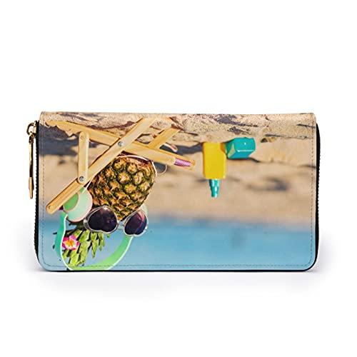 Playa Funny Piña Gafas de Sol Impreso Cartera de Cuero Mujeres Zip Bolso de Embrague Bolsa de Viaje Tarjeta de Crédito Titular, Black (Negro) - Black-48