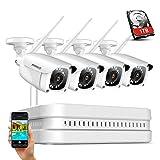 ANNKE Kit de Seguridad Inalámbrica 8CH NVR con 1TB Disco Duro de Viigilancia + 4 Cámaras Sistema de Videovigilancia 1080P WiFi Cámara IP IP66 Impermeable Visión Nocturna - 1TB HDD