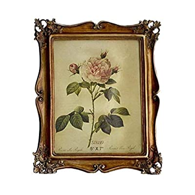 SIKOO Vintage Picture Frame Antique Tabletop and Wall Hanging Photo Frame with Glass Front for Home Decor, Bronze (5x7)