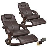 RecPro Charles 28' RV Euro Chair Recliner Modern Design RV Furniture (2, Mahogany)