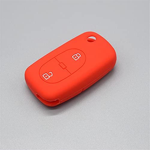 HJPOQZ Llavero De 2 Botones con Control Remoto De Goma, Carcasa Protectora De Silicona para Llave De Coche, para Audi A2 A3 A4 A6 A8 TTRojo