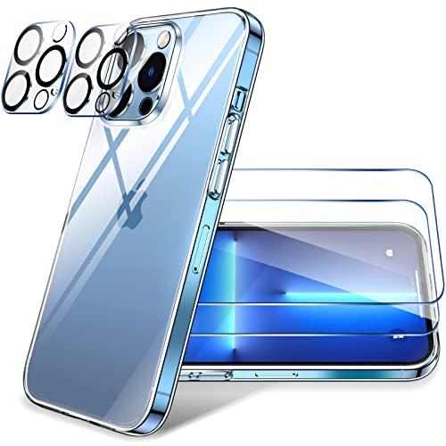 LK Cover Compatibile con iPhone 13 PRO Max 6.7 Pollici Custodia, 4 Pezzi - 2 Pellicola Protettiva in Vetro Temperato & 2 Pellicola Fotocamera, Silicone Morbido TPU Protezione Case-Trasparente