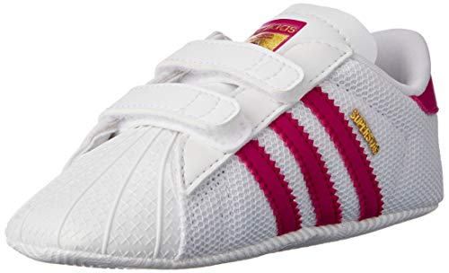 adidas Superstar Crib, Zapatillas Bebé, Multicolor (Blanco/Rosa), 17 EU