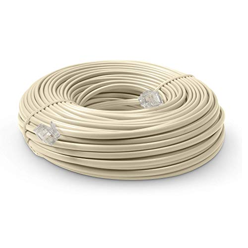 Phone Line Cord 100 Feet - Modular Telephone Extension Cord 100 Feet - 2 Conductor (2 pin, 1 line) Cable - Works Great with FAX, AIO, and Other Machines - Ivory