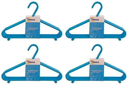 Bieco Kleiderbügel Kinder Baby Kinderkleiderbügel Babykleiderbügel Kunststoff Hangers Hosensteg Aufbewahrung für Kleiderschrank Schrank Länge 29,5cm, 32 Stück, hellblau, schmal, Artn 90032151