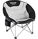 KingCamp Moon Saucer Leisure Heavy Duty Steel Camping Chair Padded Seat with Cooler