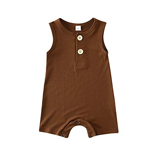 Infant Baby Boy Girl Romper Solid Plain One Piece Jumpsuits Bodysuit Pajamas Sleeveless One Piece Baby Clothes Summer Outfits (Brown, 0-6 Months)