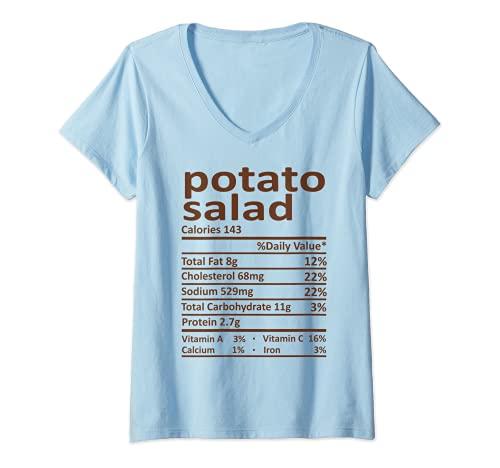 Mujer Patata Ensalada Nutricin Accin de Gracias Disfraz Comida Navidad Camiseta Cuello V