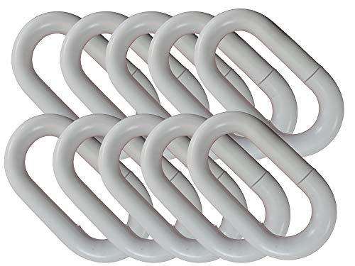 UvV Absperrketten Notglieder 10er Set, Reparatur und Verbindungsglieder aus Kunststoff in vielen Farben und Größen (10 mm, weiß)