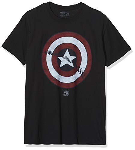 Marvel Captain America, Camiseta para Hombre, Negro, X-Large