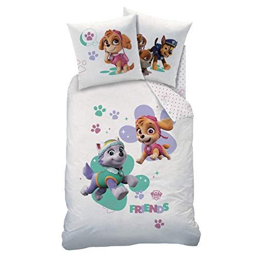 PAW PATROL Biber Flanell Bettwäsche Set für Mädchen · Kinderbettwäsche · 1 Kissenbezug 80x80 + 1 Bettbezug 135x200 cm - 100% Baumwolle