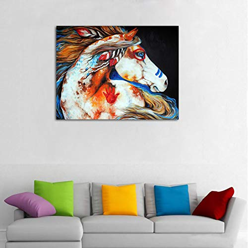 Faicai Art Side Face Spirit Indian War Horse Wall Art Canvas Prints Abstract Colorful Animal Paintings HD Printed Oil Painting Modern Home Decor for Living Room Bedroom Office Wooden Framed 24'x36'