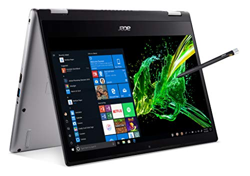 "Acer Spin 3 Convertible Laptop, 14"" Full HD IPS Touch, 8th Gen Intel Core I5-8265U, 8GB DDR4, 256GB PCIe Nvme SSD, Rechargeable Active Stylus, SP314-53N-57BS"