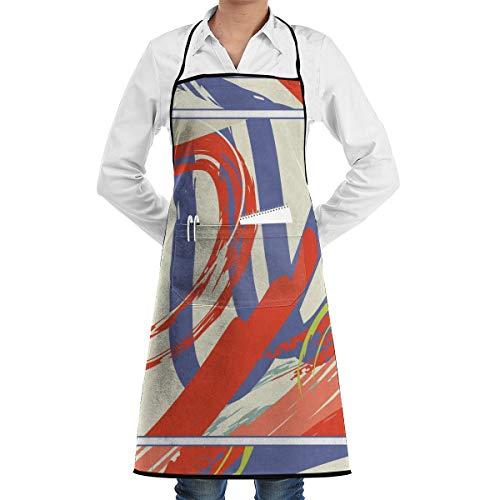 N/A Abstract Kleurrijke Asymmetrische Kunst Voor Zijde Sjaal Sjaal Ontwerp Keuken Bib Schort Schort Schort Waterdrop Resistant Koken Bakken Crafting BBQ Voor Vrouwen Mannen Met Zakken Aangepast