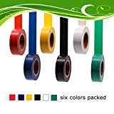 Soundoriginal Electrical Tape Colors 6 Pack 3/4-Inch by 30 Feet, Voltage Level 600V Dustproof, Adhesive for General Home Vehicle Auto Car Power Circuit Wiring 3m Multicolor(30Ft MUL)