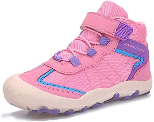 SUYSTEX Winterschuhe Winterstiefel Jungen Mädchen Kinderschuhe Winter Trekkingschuhe Kinder Wanderschuhe Outdoor rutschfest mit Klettverschluss 33 EU Pink