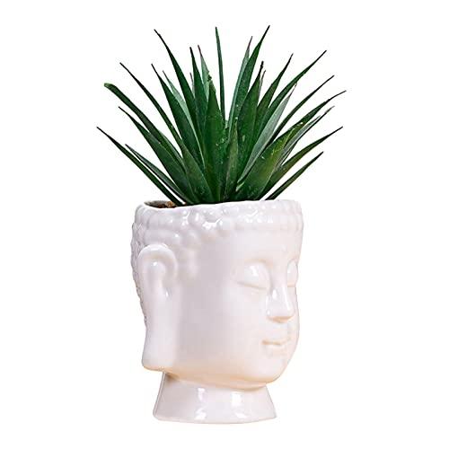 Xuanshengjia Buda De La Maceta De Cerámica, Olla De Cerámica Blanca Acristalada, Macetas De Plantadoras para Las Plantas De Oficina para El Hogar, Suculentas, Decoración De Cactus