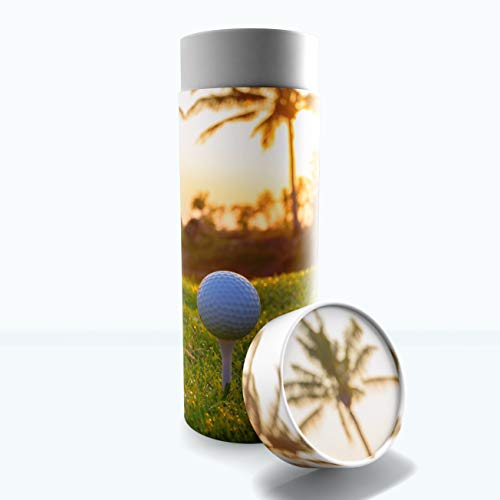 """Male Cremation Urns Biodegradable & Eco Friendly Cremation Urns for Adult Ashes, Burial Urns, Scattering Tube for Ashes, Scattering Urns for Human Ashes (One More Round (Golf), Large 12""""x5"""")"""