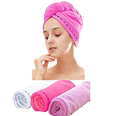 3 Pack Microfiber Hair Towel Wrap BEoffer Super Absorbent Twist Turban Fast Drying Hair Caps with Buttons Bath Loop Fasten Salon Dry Hair Hat