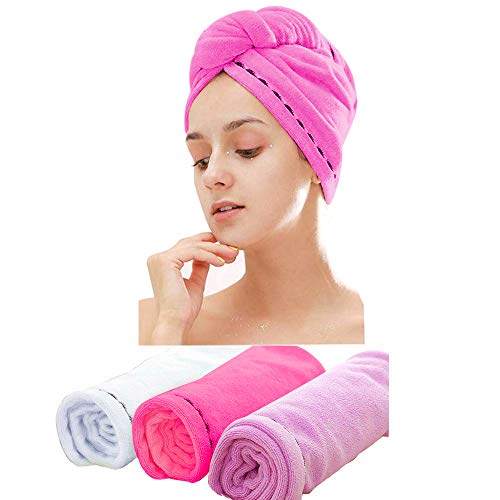 3 Pack Microfiber Hair Towel Wrap BEoffer Super Absorbent Twist Turban Fast Drying Hair Caps with Buttons Bath Loop Fasten Salon Dry Hair Hat Red White Purple