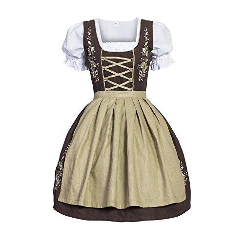 Gaudi-Leathers Dirndl Set 3 tlg. Trachtenkleid mit Stickerei, Dirndl Bluse, passender Schürze in verschiedenen Farben und Größen, Braun (Braun 015), 34