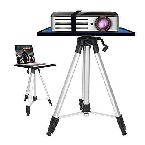 ERTYU Heavy Duty Projector Tripod Stand Foldable, Aluminum Multifunction Tripod Stand with Tray, 17.7' To 47.2' Universal Device Stand Perfect for Stage or Studio Use Silver
