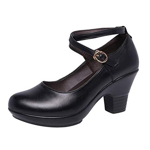 Zapatos De Tacón Alto con Plataforma para Mujer Zapatos De Cuero con Estilo Negro para Oficina Mary Janes Vestido De Confort Informal Stilettos De Baile para Damas