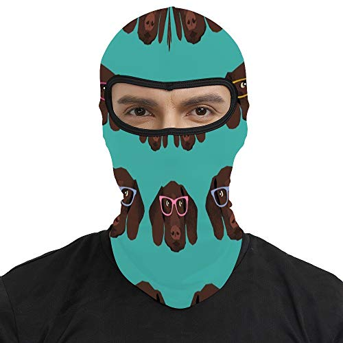 Summer Balaclava Face Mask -German Shorthaired Pointer in Glasses, Men & Women Wind-Resistant Thermal Skullies Beanies Head Wrap Durable Neck Warmer for Snowboard Cycling Hunting