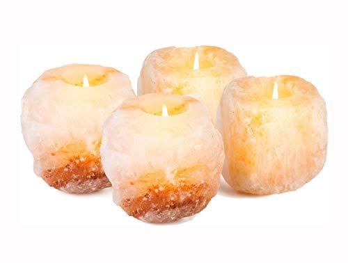Mockins 2.5 lbs 4 Pack Natural Himalayan Salt Tea Light Candles Holder...