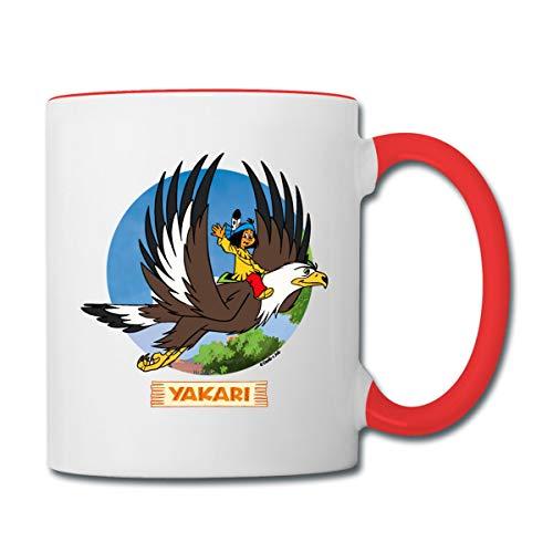 Yakari Indianer Fliegt Auf Großer Adler Kreislogo Tasse zweifarbig, Weiß/Rot