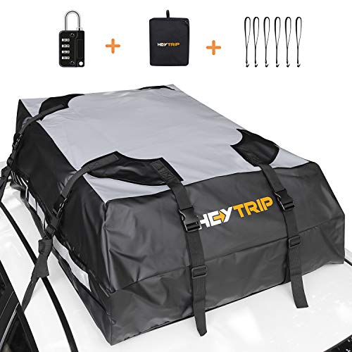 HEYTRIP 100% Waterproof Roof Cargo Carrier with Non-Slip Bottom, Reflective Strips for Vehicles with Racks or Without Racks (2 Years Warranty)