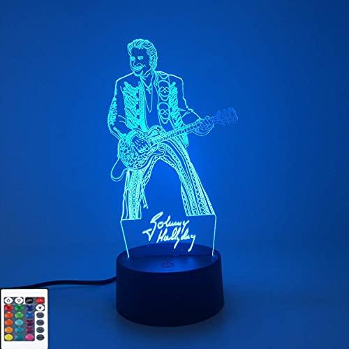 BFDMY Lámpara de Noche con Holograma 3D,acrílico,con Interruptor táctil,7 Cambios de Color,Mando a Distancia con 16 Colores