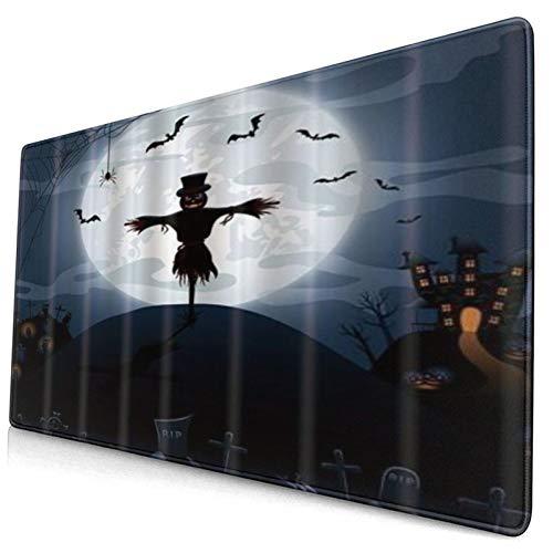 LASINSU Alfombrilla Gaming,Espantapájaros Noche de Halloween Castillo y Calabazas Lápida Murciélagos,con Base de Goma Antideslizante,750×400×3mm
