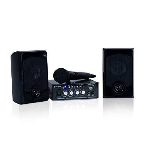 auna Karaoke Star - Equipo de Karaoke, USB, Reproduce MP3, Bluetooth, Amplificador, 2 Altavoces, Entrada de línea, Cable de Altavoces, 1x Micrófono, Potencia máx de 2 x 50 W, Antracita
