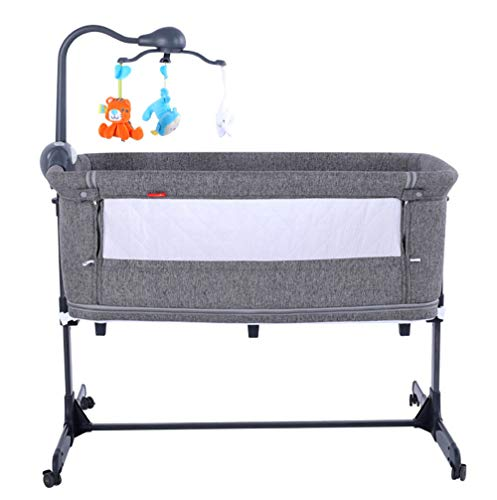 Best Deals! Xinrangxin Portable Bedside Crib with Adjustable Height and Angle, Firm Mattress, Mosqui...