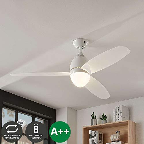 Ventilatore da soffitto con lampada 'Piara' (Moderno) colore Bianco, ad es. Cucina (2 luci, E27, A++) di Lindby | Ventilatore