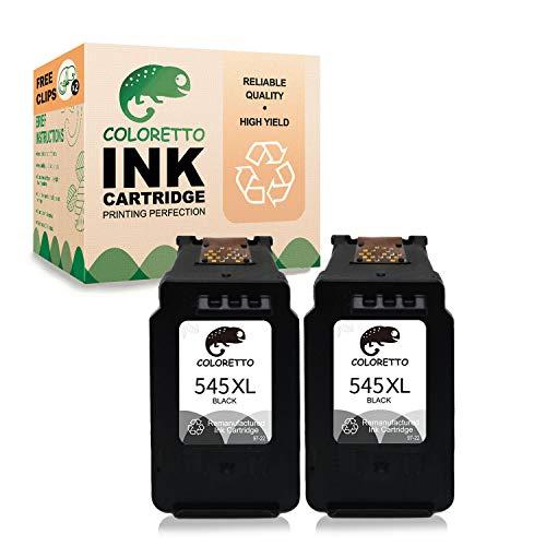 COLORETTO Druckerpatronen kompatibel für Canon PG-545XL für Canon MX490 495 IP2800 2850 2840 2855 (2 Schwarz)