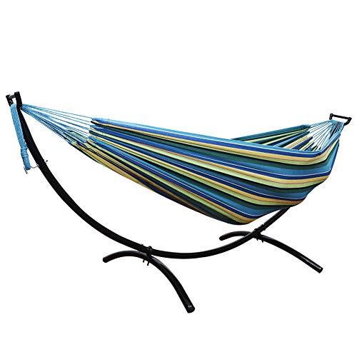 WXCCK katoenen hangmat met stevig stalen frame, complete set voor hangstoelen binnen en buiten tuin terras opknoping bed