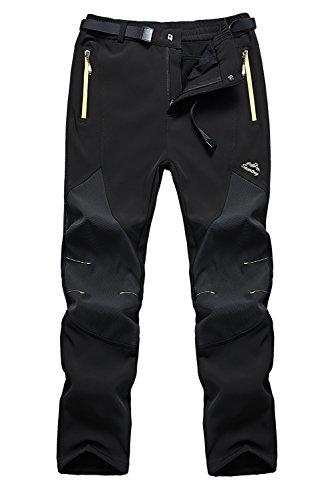 FunnySun Men's Outdoor Water Resistant Windproof Fleece Snow Hiking Pants US16606M Black L