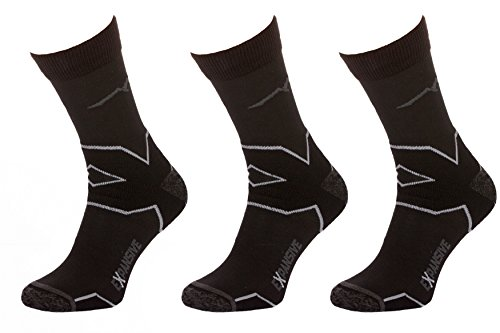 Filmar Factory 3X Set - Trekking Light Chaussettes de Trekking | Chaussettes fonctionnelles | 22% Merino | Coutures Plates | Double Bride | Trekking Light Black/Khaki | 35-38