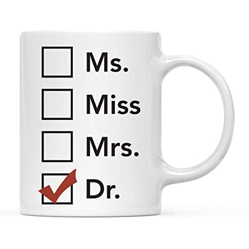 Taza de café de graduación, Regalo, señora, señorita, señora, Dr, Incluye Tazas para graduados, Estudiantes de la Escuela de la Clase de 2020, Diploma de posgrado, Grado académico, 11 oz