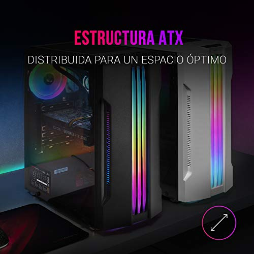 Mars Gaming MCK, ATX PC Case, LED a Tripla Striscia, Ventola Posteriore 12cm, Bianco