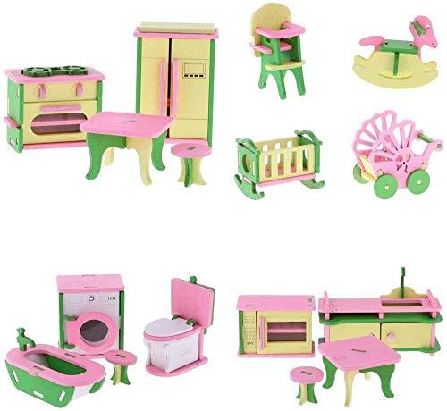 DIVISTAR 4 juegos de madera casa de muñecas miniaturas cocina baño guardería muebles refrigerador comedor silla lavadora microondas horno juguetes