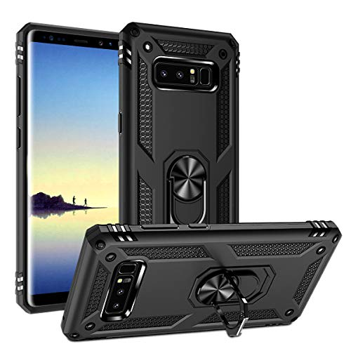 Galaxy Note 8 Case Military Grade Drop Impact Tested Armor 360 Metal Rotating Ring Kickstand Holder Built-in Car Mount Silicone TPU Shockproof Anti-Scratch Full Body Protective Cover for Note 8(Black)